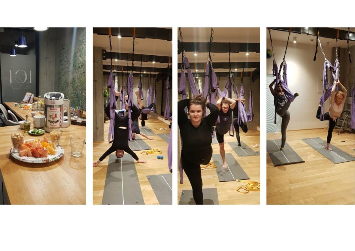 fotky z vánočního workshopu aero jógy